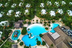 Aerial view of tropical swimming pool and palm trees in luxury resort royalty free stock image