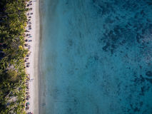 Aerial View: Trou aux Biches Beach Stock Image