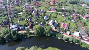 Aerial view of Trubezh river and real estate Stock Images