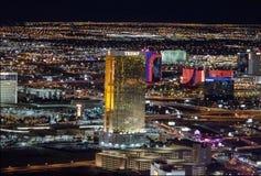 Aerial view of the Trump Hotel at night - Las Vegas, Nevada, USA stock photos