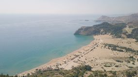 Aerial view of Tsampika beach. Rhodes island, Greece stock video