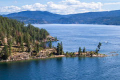 Aerial view of tubs hill and the lake. Tubs hill in Coeur d` Alene Idaho viewed form a parasail Stock Image