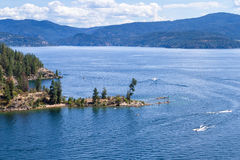 Aerial view of tubs hill and the lake. Tubs hill in Coeur d` Alene Idaho viewed form a parasail Royalty Free Stock Photos