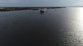 Aerial View of Tugboat and Cargo Ship Delaware River Philadelphia stock video