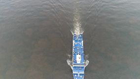 Aerial View of Tugboat and Barge Delaware River Philadelphia.  stock video