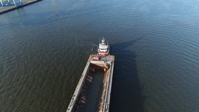 Aerial View of Tugboat and Barge Delaware River in Philadelphia. Aerial View of Tugboat and Barge Delaware River Philadelphia stock video