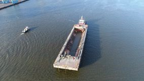 Aerial View of Tugboat and Barge Delaware River in Philadelphia. Aerial View of Tugboat and Barge Delaware River Philadelphia stock video footage