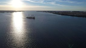 Aerial View of Tugboat and Barge Delaware River. Philadelphia PA stock video footage