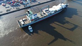 Aerial View of Tugboat and Cargo Ship Delaware River Philadelphia stock footage
