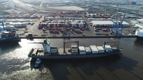 Aerial View of Tugboat and Cargo Ship Delaware River Philadelphia.  stock video