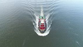 Aerial View of Tugboat Delaware River Philadelphia PA.  stock video footage