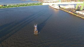 Aerial View of Tugboat  Philadelphia PA. Aerial View of Tugboat at Walt Whitman Bridge Philadelphia PA stock footage