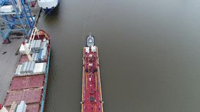 Aerial View Tugboat and Refueling Barge Delaware River Philadelphia PA. Aerial View of Tugboat and Refueling Barge Delaware River Philadelphia PA stock video