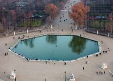 Aerial view of the Tuileries Garden pond in Paris, France Stock Image