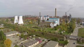 Aerial view of Tulcea city, industrial area and bauxite alumina refinery.  stock video
