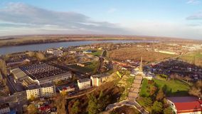 Aerial view of Tulcea city and the monument of independence built in the year 1899.  stock video