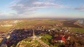 Aerial view of Tulcea city and the monument of independence built in the year 1899.  stock video footage