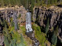 Aerial view of Tumalo falls royalty free stock image