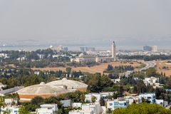 The aerial view of Tunis with the high minaret, Tunisia, Africa royalty free stock photography