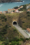 Aerial view tunnel of  Portbou in Girona, Costa Brava, Spain Stock Images