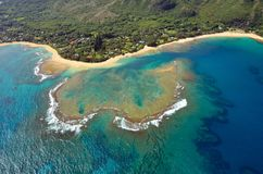 Aerial view of Tunnels beach, Kauai Royalty Free Stock Photography