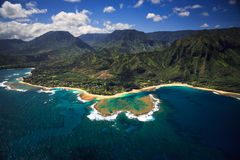 Aerial View of Tunnels on Kauai. Aerial View of Tunnels Beach and reef system on the Hawaiian Island of Kauai Stock Photography