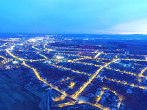Aerial view of a city in night Royalty Free Stock Images