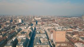 Aerial view of Turin. City at sunny day stock footage