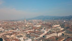 Aerial view of Turin. City at sunny day stock video