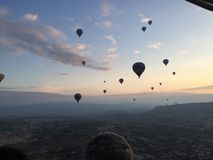 An Aerial view of turkish sunrise from the hot air balloon royalty free stock images