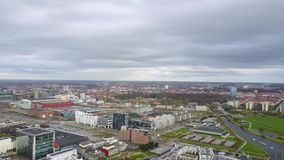 Aerial View of Turning Torso Skyscraper in Sweden. Amazing aerial view of the Malmo Western Harbour with beautiful houses and a turning Torso skyscraper stock video