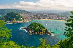 Aerial view of turquoise bay of San Sebastian or Donostia with beach La Concha, Basque country, Spain. Aerial view of turquoise bay of San Sebastian or Donostia stock photo