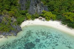 Aerial view of turquoise coastal waters in El Nido stock photography