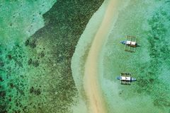 Aerial view of turquoise coastal waters in El Nido stock photo