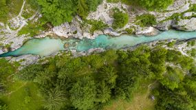 Aerial view of turquoise river and forest royalty free stock image