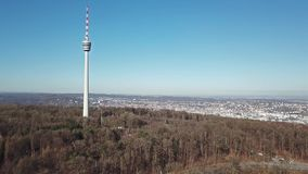Aerial view of the TV Tower and the city of Stuttgart. Germany stock footage