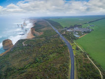 Aerial view of the Twelve Apostles and visitor centre on the Great Ocean Road royalty free stock images