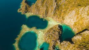 Aerial view Twin lagoon, sea, beach. Tropical island. Busuanga, Palawan, Philippines. Aerial view: Twin Lagoon with blue, azure water in the middle of small stock video footage