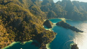Aerial view Twin lagoon, sea, beach. Tropical island. Busuanga, Palawan, Philippines. stock footage