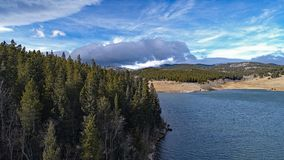 Drone shot of a Colorado mountain lake stock images