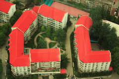 Aerial view on two backyards in Beijing Royalty Free Stock Photography