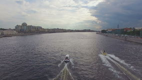 Aerial view of two boats sailing on the river Neva stock footage