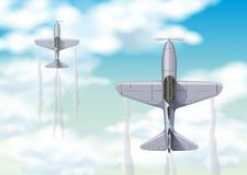 Aerial view of two fighting jets. Illustration Stock Photos