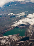 Aerial view on two lakes. View on two lakes with different chemical water composition Stock Image