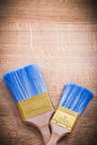 Aerial view two paint brushes  and organized Royalty Free Stock Photo