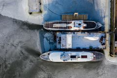 Aerial view of two ships frozen in a lake royalty free stock photo