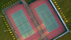 Aerial view of two tennis courts Stock Image