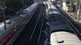 Aerial view on two trains passing the railway in Mumbai. stock video footage