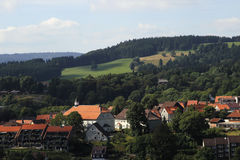 Aerial view of a typical Alpine town, Germany Royalty Free Stock Images