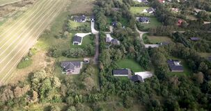Aerial view of a typical area of holiday homes in Denmark